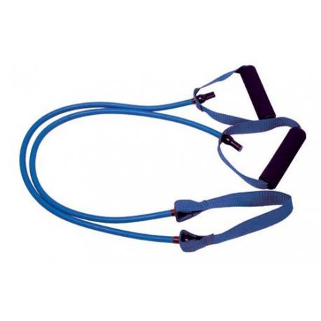 Tubo de resistencia con cinta central. 1,2 m. Color azul - Fuerte.